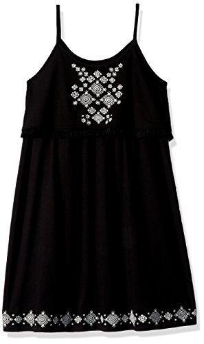 Dresses For Children (The Children's Place Big Girls' Embroidered Dress W/Fringe, Black, M (7/8))