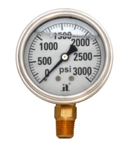 Zenport LPG3000 Zen-Tek Glycerin Liquid Filled Pressure Gauge, 3000 PSI, Box of 10 by Zenport