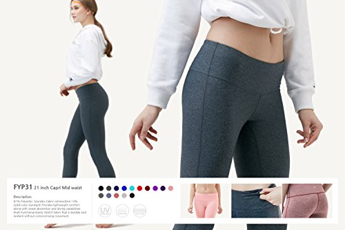 TSLA Women's Yoga Leggings, Mid/High Waisted Tummy Control Workout Leggings, Athletic Yoga Pants w Pocket