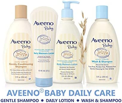 41zr0I0SeWL. AC - Aveeno Baby Daily Moisture Moisturizing Lotion For Delicate Skin With Natural Colloidal Oatmeal & Dimethicone, Hypoallergenic, Fragrance-, Phthalate- & Paraben-Free, 18 Fl. Oz