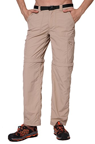Trailside Supply Co. Men's Quick-Dry Convertible Nylon Trail Pants with Belt Nomad Brown Medium