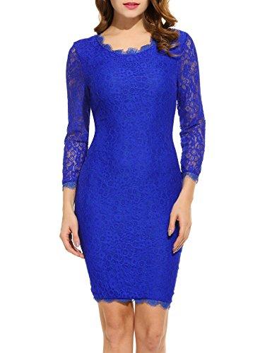 ACEVOG Women Ladies Package Hip Knee Length Floral Lace Pencil Party Dress (XX-Large, Blue)