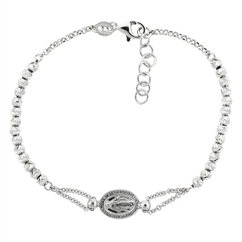 Sterling Silver Miraculous Bracelet Diamond
