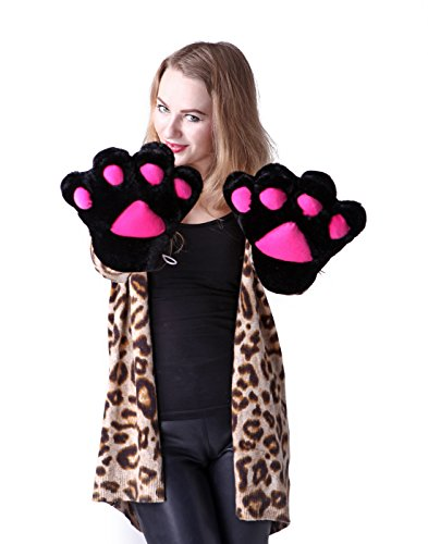 HDE Adult Halloween Costume Cosplay Cute Soft Kitty Cat Girl Paw Gloves (Black) -