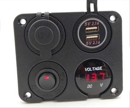 Cargador universal doble para coche 12 V, 2 puertos USB color rojo Sunwan