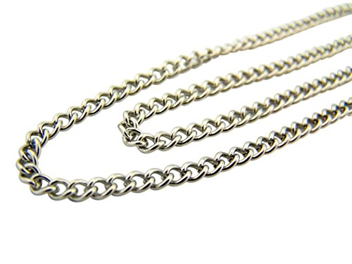 Religious Gifts Stainless Steel Endless Heavy Curb Chain for Saint Medals or Crosses, 27 Inch ()