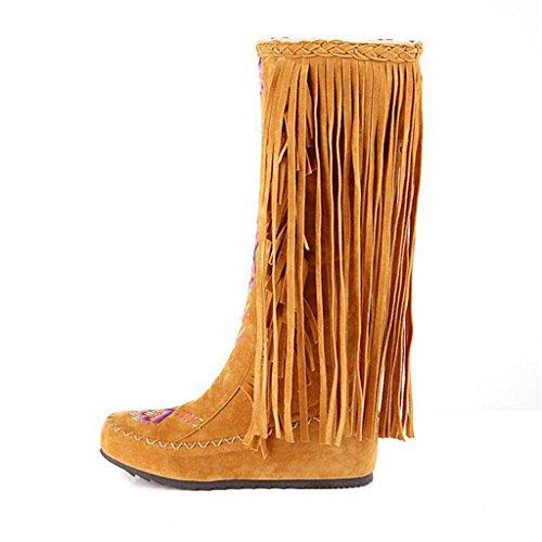 Nappa Donna con Alto Ginocchio al da Yellow Tacco Stivali da Alto Grandi sopra Donna Marrone Tacco Stivali Stivali di da Donna Kitzen Scarpe Dimensioni ZqOwS8x