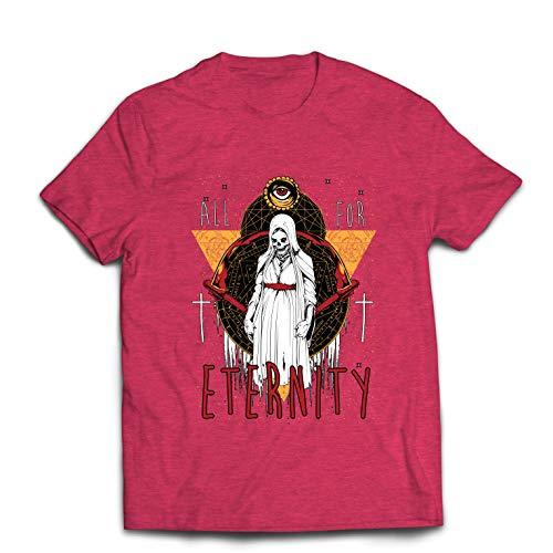 lepni.me Men's T-Shirt All for Eternity Skeleton Halloween Exorcist Skull (Small Heather Red Multi Color)]()