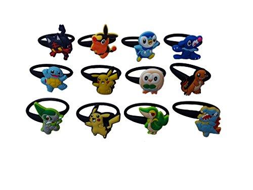 AVIRGO 12 pcs Releasable Ponytail Holder Elastic Rubber Stretchable No-slip Hair Tie Set # 116-6 - Calem Pokemon Costume
