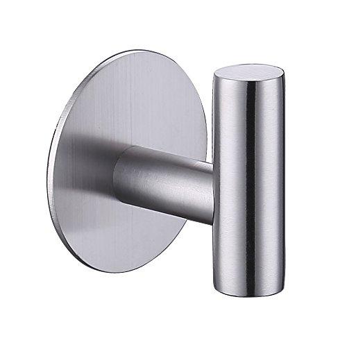 KES Self Adhesive Hooks Rail STAINLESS STEEL 1-Hook Rack Bath Towel Hook Sticky Bathroom Kitchen Towel Multi Hanger Brushed Finish, AH7203-2