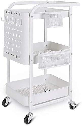 3 étages Chariot de cuisine blanc stockage portable Panier Panier de rangement maison Rack