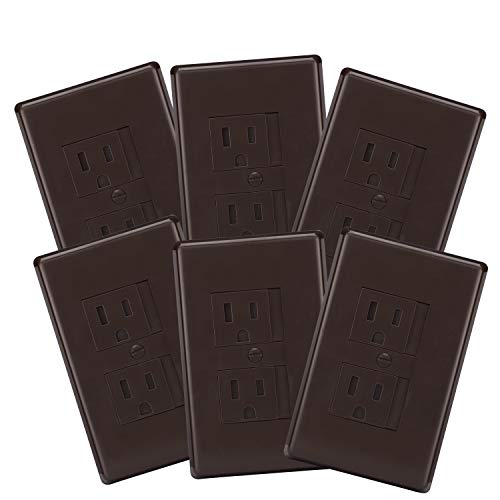 6-Pack Safety Innovations Self-Closing (1Screw) Standard Outlet Covers – an Alternative to Wall Socket Plugs for Child Proofing Outlets, (Espresso)