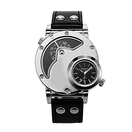 Aposon Men's Unique Analog Watch, Luxury Fashion Dress Quartz Wrist Watches with Comfortable Leather Band Large Face Dual Dial Cool Design Two Time Zone Silver
