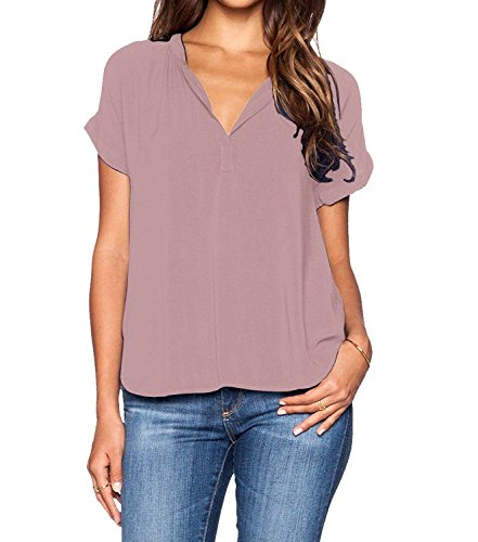 Spandex V-neck Blouse (roswear Women's Chiffon Blouse V Neck Short Sleeve Top Shirts Pink Large)
