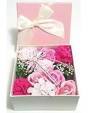 Fancy Flora Scented Flower Bath Soap, Plant Essential Oil Flower Soap in Gift Box, Anniversary/Birthday/Wedding/Valentine's Day/Mother's Day - Dark Pink