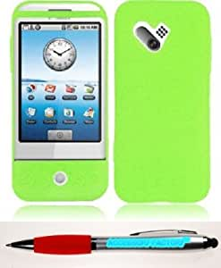 Bloutina Accessory Factory(TM) Bundle (the item, 2in1 Stylus Point Pen) For HTC G1 Silicone Skin Cover Case - Neon Green...