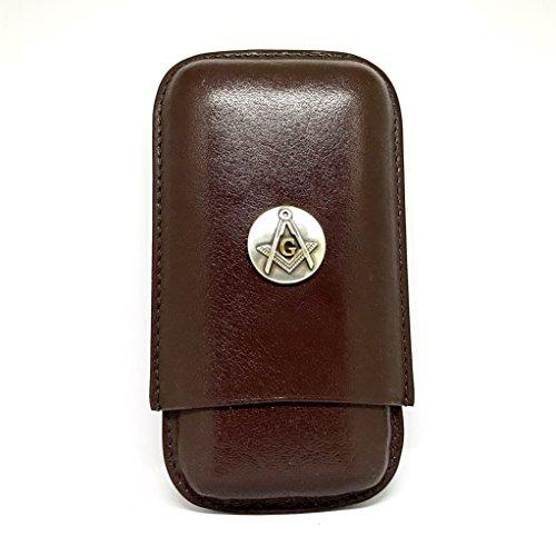 Freemasons 3-Finger Cigar Case - Mason Leather Cigar Case - Cigar Cutters by Jim