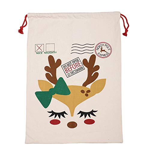 Jinjin Christmas Stocking Gift Bag Big Canvas Merry Christmas Santa Bag Xmas Presents Stocking Filler Decorations Party Favors for Kids Girl Boy from Jinjin