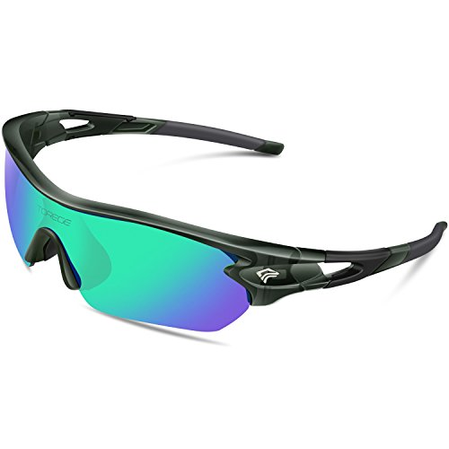 (TOREGE Polarized Sports Sunglasses with 5 Interchangeable Lenes for Men Women Cycling Running Driving Fishing Golf Baseball Glasses TR002 (Transparent Gray&Green Lens) )