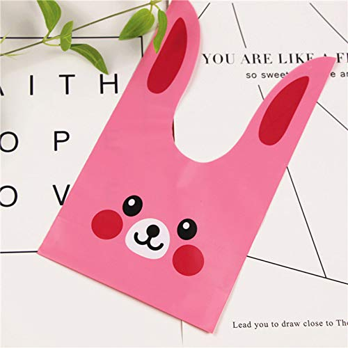 XLPD 50Pcs Pink Candy Plastic Bags Lovely Bunny Ears Treat Bags Gift Wrap Packing for Wedding Birthday Party Supplies 7D Pink 14x24cm ()