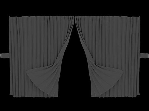Pleated point side curtain standard 500 × 800 black 190-0143 by Mad Max