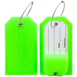 BlueCosto 2 Pack Luggage Tag Label Suitcase Tags Travel Bag Labels w/Privacy Cover - Green