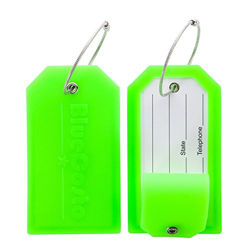 - BlueCosto 2 Pack Luggage Tag Label Suitcase Tags Travel Bag Labels w/Privacy Cover - Green