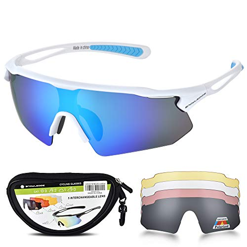 HUBO SPORTS Cycling Glasses, TR90 Unbreakable Frame Polarized Sports Sunglasses, Bike Glasses for Men Women with 5 Interchangeable Lens, Anti-UV400 for Driving Fishing Glof Baseball Running ()