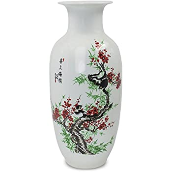 Dahlia Bird on Plum Blossom Famille Rose Porcelain Tall Flower Vase, 15 Inches, Rouleau Vase