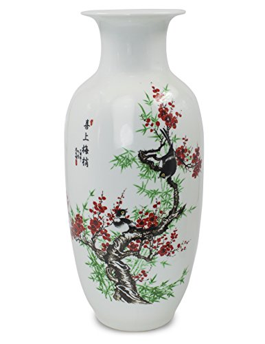 Dahlia Bird on Plum Blossom Famille Rose Porcelain Tall Flower Vase, 15 Inches, Rouleau Vase (Porcelain Flower Vase)