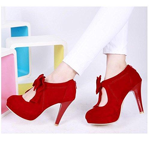 Coolcept Mujer Moda Fiesta Court Shoes Tacon de Aguja Plataforma Bootie Bombas Zapatos With Corbata de Mono (45 EU, Red)
