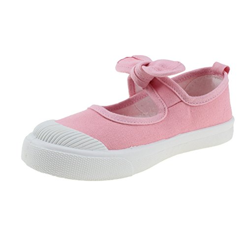 Pink Canvas Mary Jane (Maxu Girl's Canvas Flats Princess Bowknot Shoes,Pink,Little Kid Size 11)