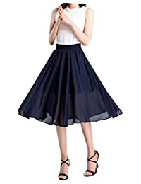 Women's A-line High Elastic Waist Relaxed Pleated Floral Mid Length Skirts