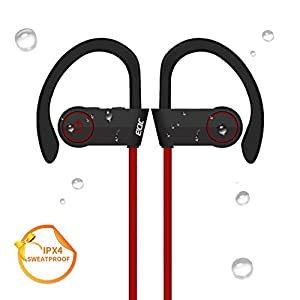 Sport Wireless Bluetooth Headphones,JDB Sports Running Sweatproof Wireless Headset Stereo Bass In-ear Earbuds,Ergonomic Earhook,7 Hours Play Time with Mic for iPhone 7/7 Plus and Smartphones (Red)
