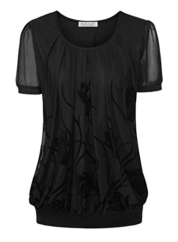 Button Cuff Floral Blouse - BaiShengGT Women's Short Sleeve Pleated Front Mesh Blouse X-Large Black Floral #5
