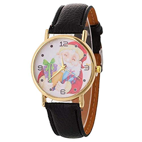 (Noopvan Fashion Casual Women's Santa Watches Claus Creative Christmas Series Pattern Quartz Watch Leather Strap Belt Table Watch (Black))