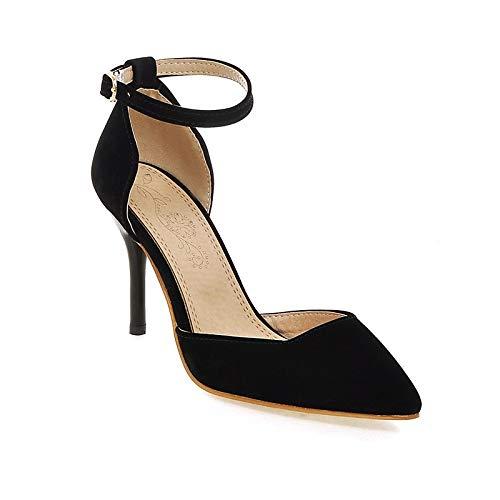 ZHZNVX Zapatos de Mujer de Microfibra Primavera y otoño Tacones de Correa de Tobillo Tacón de Aguja con Punta en Punta Hebilla Negra/Beige / Vino/Fiesta y Noche Black