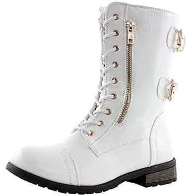 West Blvd Sydney Combat Combat Boots, White Pu, 8
