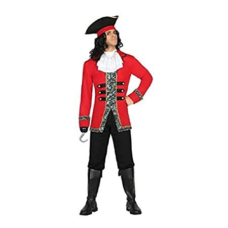 Atosa- Disfraz hombre capitán pirata, Color negro y rojo, ML (18214)