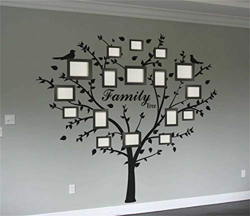 Vinyl Wall Decals Quotes Sayings Words Art Deco Lettering Inspirational Family Photo Tree for Living Room Bedroom Tv Sofa Backgound