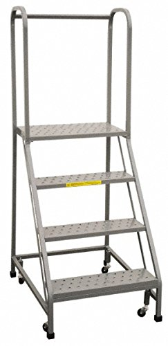 Step Rolling Safety Ladder - PW Platforms BS4S30-Perforated Rolling Safety Ladder-57 Easy Slope, 4 Steps, 30