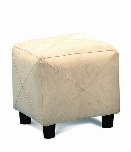 Tan Microfiber Storage Ottoman - Microfiber Cubes Footstool Ottoman