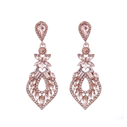 NLCAC Pear Shape Crystal Dangle Earrings Pierced Marquise Cluster Ear Drop Wedding Jewelry Rose Gold