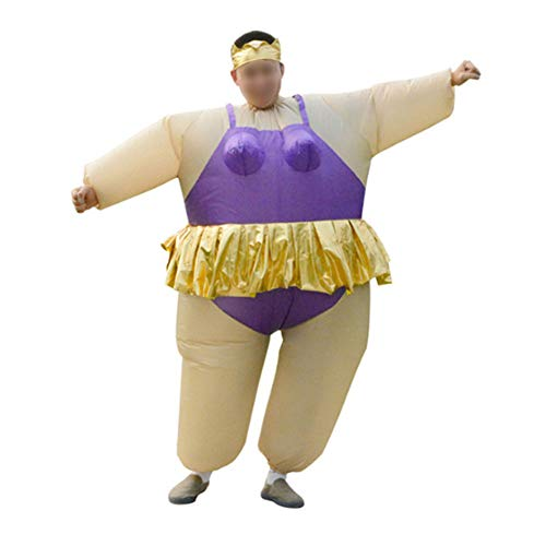 Ss Inflatable Clothing Ballet Funny Fat Costume Funny Sumo Wrestler Wrestling Suit Halloween Costume for Adult Men and Women, One Size,Purple -