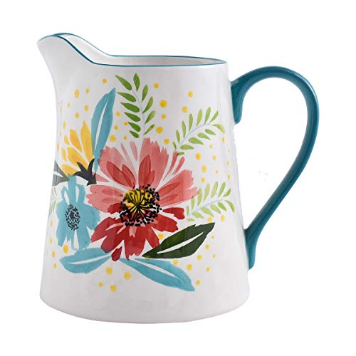 Milk Pitcher,Wisenvoy 7.2 Inch Ceramic Creamer Pitcher With Handle,Hand Painted Flower Design Sauce Serving Pitcher for Coffee Milk Honey,Great Gift for home, Kitchen décor, Jade Green (Ceramic Coffee Pitcher)
