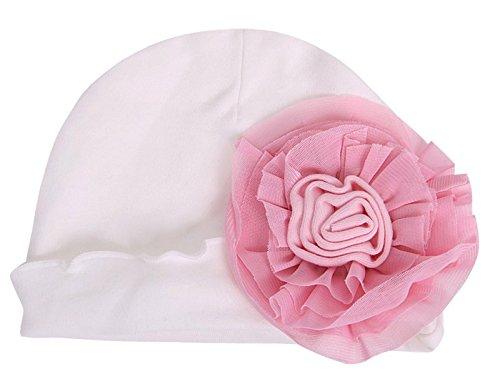 Hot Sale! Cute Newborn Baby Infant Girls Toddler Big Flower Soft Cap Beanie Hat Fashion White/Pink (White Felt Beard)
