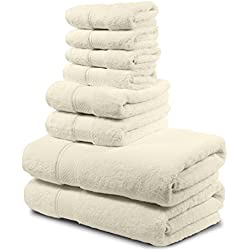 Luxury Bath Towel Set. Hotel & Spa Quality. 2 Large Bath Towels 30x56, 2 Hand Towels, 4 Washcloths. Premium Collection Turkish Bathroom Towels. Soft, Plush and Highly Absorbent. (Set of 8, Cream)