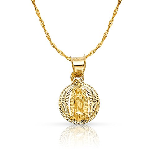 14K Yellow Gold Diamond Cut Our Lady of Guadalupe Stamp Charm Pendant with 0.9mm Singapore Chain Necklace - 22