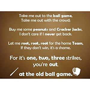 Take me out to the ball game vinyl decal