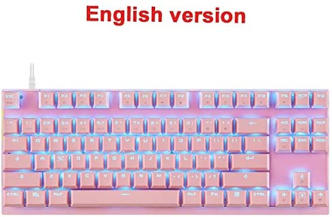 Axis Body : Blue Switch, Color : Pink Gaming Keyboard Mechanical Gaming Keyboard LED Backlight USB Wired 87 Key English//Russian Keyboard for Computer Gamer Keyboard
